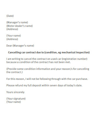 Sample Letter to Dealer Cancelling Contract