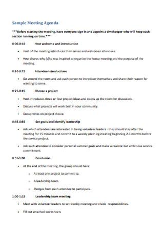 Sample Meeting Agenda Example