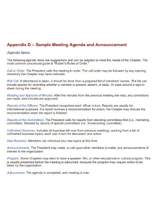 Sample Meeting Agenda and Announcement