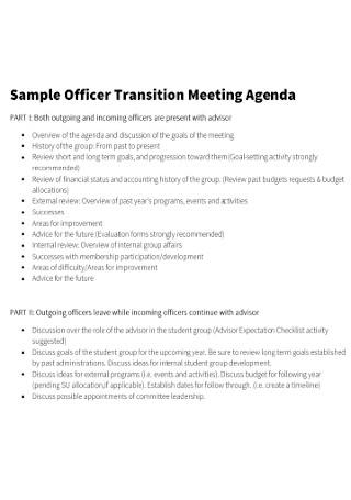 Sample Officer Transition Meeting Agenda