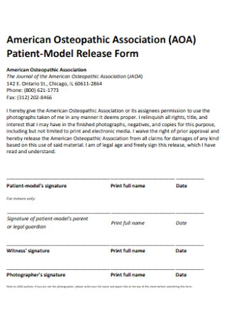 Sample Patient Model Release Form