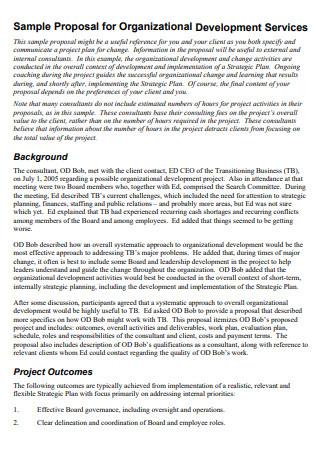 Sample Proposal for Organizational Development