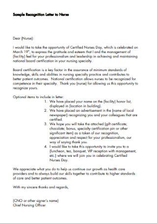 Sample Recognition Letter to Nurse