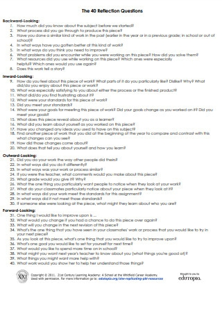 Sample Reflection Questions