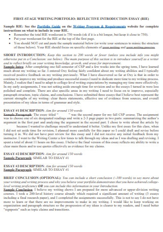 Sample Reflective Introduction Essay