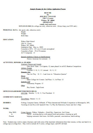 Sample Resume for the College Studnet