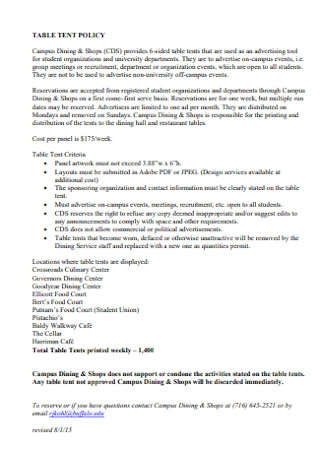 Sample Table Tent Policy Template