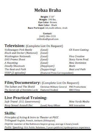 Sample Television Acting Resume