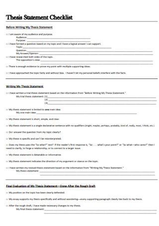 Sample Thesis Statement Checklist