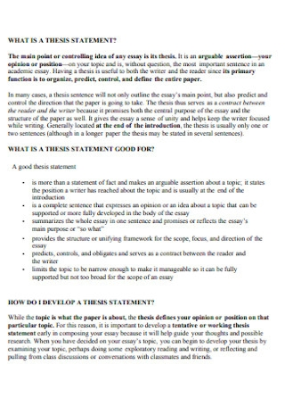 Sample Thesis Statement Template