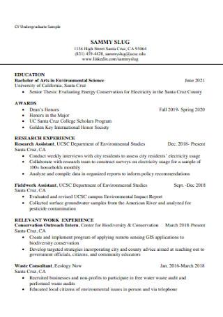 Sample Undergraduate Student CV