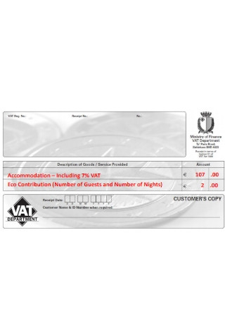 Sample VAT Receipt
