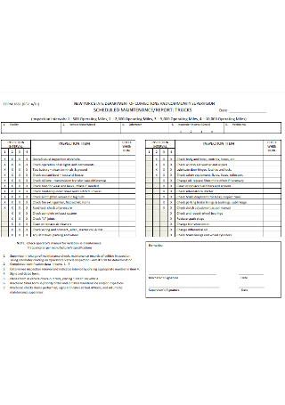 Schedule Maintenance Report Form