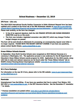 School Business Newsletter