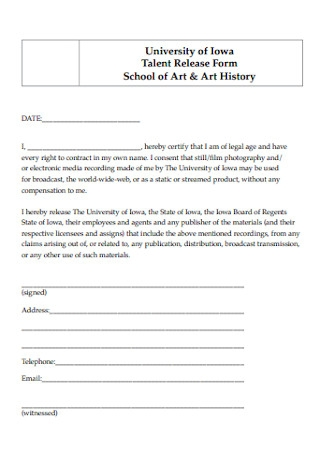 School Talent Release Form