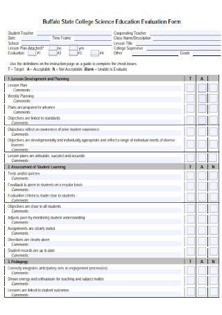 Science Education Teacher Evaluation Form