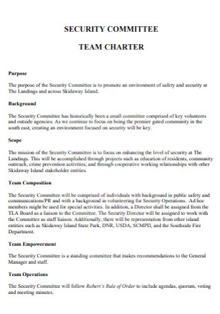 Security Committee Team Charter