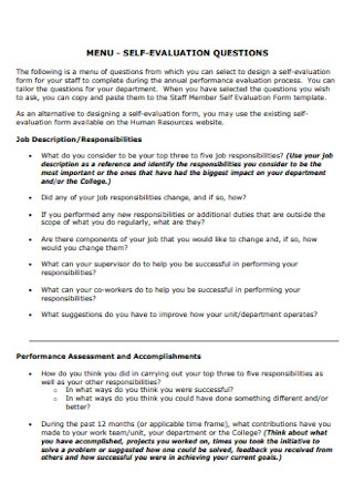 Self Evaluation Questions Template