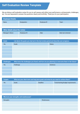 Self Evaluation Review Template