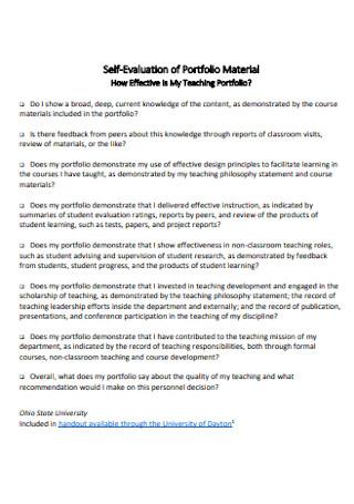 Self Evaluation of Portfolio Material