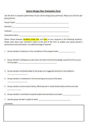Senior Design Peer Evaluation Form