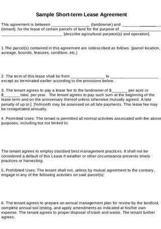 Short Term Rental Lease Agreement