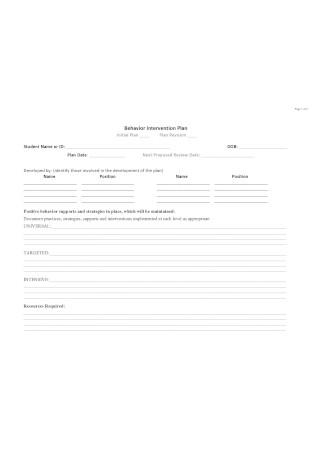 Simple Behavior Intervention Plan