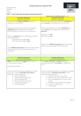 Simple Behavioral Support Plan