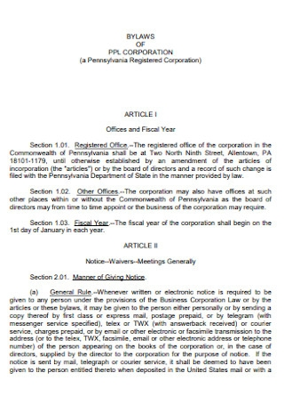 Simple Bylaws of Corporate