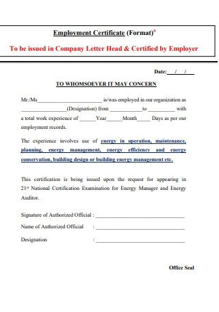 Simple Employment Certificate