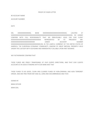 Simple Proof of Funds Letter