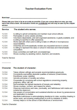 Simple Teacher Evaluation Form