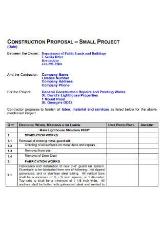 Small Project Construction Proposal