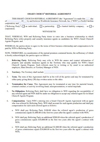 Smart Choice Referral Agreement