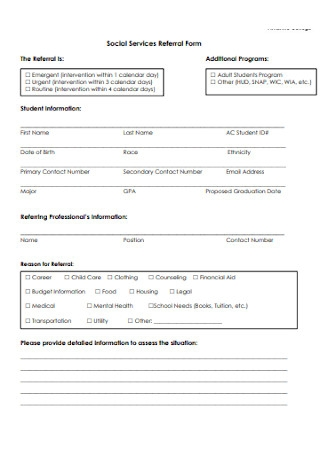 Social Services Referral Form