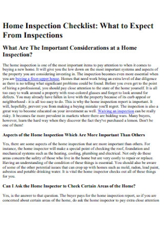 Society of Home Inspection Checklist