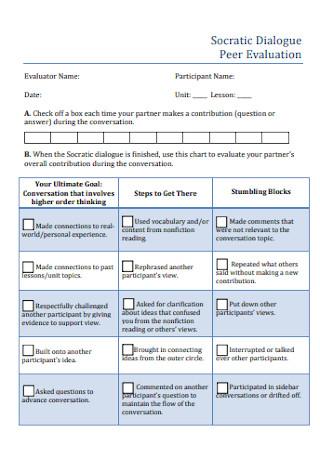 Socratic Dailogue Peer Evaluation FOrm