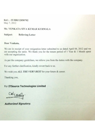 Source Relieving Letter