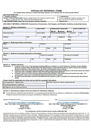 Speciality Referral Form Template