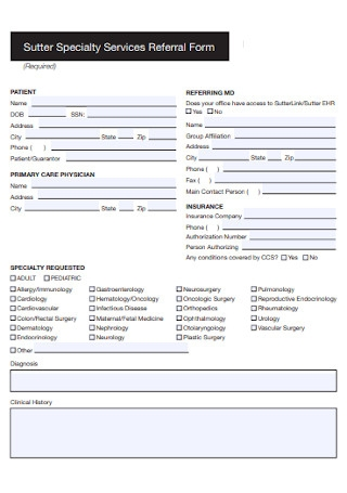Specialty Services Referral Form