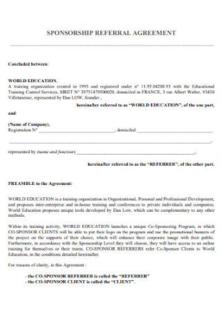 Sponsorship Referral Agreement