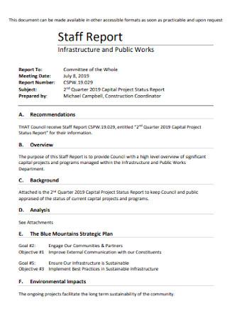 Staff Project Status Report