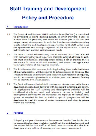 Staff Training Policy and Procedure