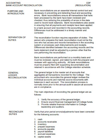 Standard Bank Reconciliation Example