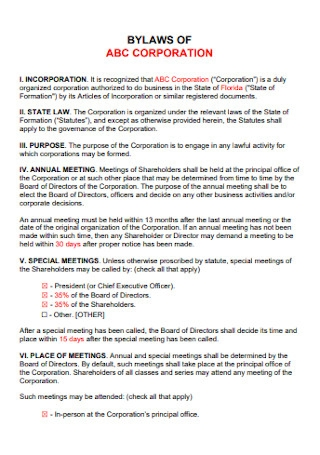 Standard Bylaws of Corporate