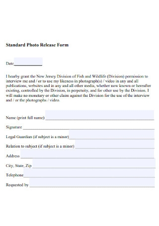 Standard Photo Release Form