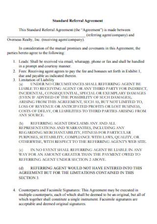 Standard Referral Agreement