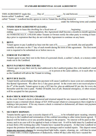Standard Residential Lease Agreement1
