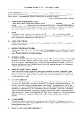 Standard Residential Rental Lease Agreement