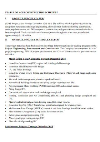 Status of Construction Schedule